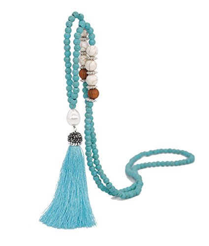 (Moonsky Long Tassel Necklace Handmade Turquoise Pearl Crystal Beads Necklace for Women Fashion Jewelry (Green))