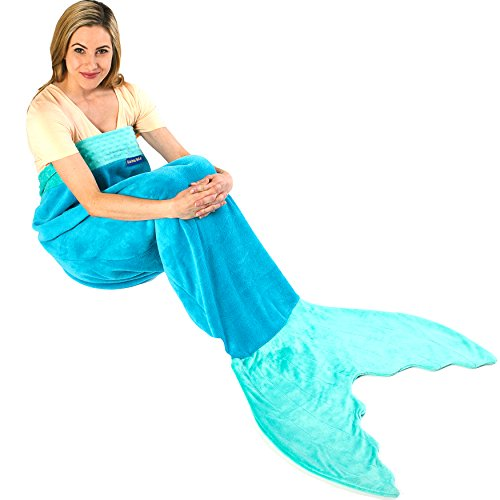 Lowest Price! Blankie Tails Mermaid Tail Blanket for Adults and Teens (Ocean Blue and Aqua)