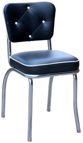 Richardson Seating 4240BLK Chrome Diner Chair with Button Tufted Back and Box Seat, Black, 2