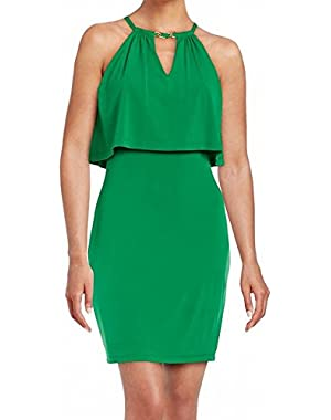 Guess Women's Popover Halter Keyhole Sheath Dress Green 6