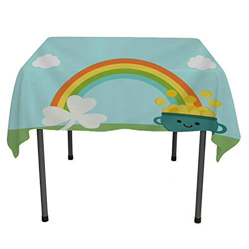 Happy St. Patricks Day Clover Ra Bow Co 9 Picnic Cloth Waterproof Table Cloth Square tablecloths 50 by 50 inch