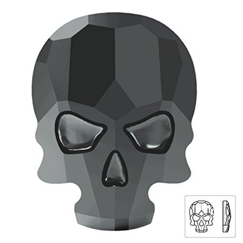 18 x 14mm Swarovski 2856 Skull Flat Back Stone by pc, Jet Hematite