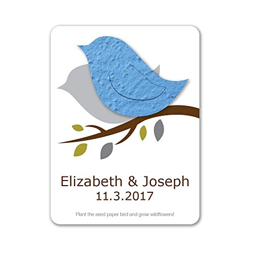 (Bloomin Plantable Love Bird Wedding Favor with Seed Paper - Light Blue (25 Card Set))