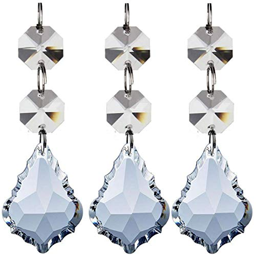 Little Chair 12Pcs Transparent Crystal Chandelier Pendants Parts Beads,Hanging Crystal Beads Chain Garland,Door Curtain,Candlestick,Party Wedding Chirstmas Decoration(Clear, 38mm)