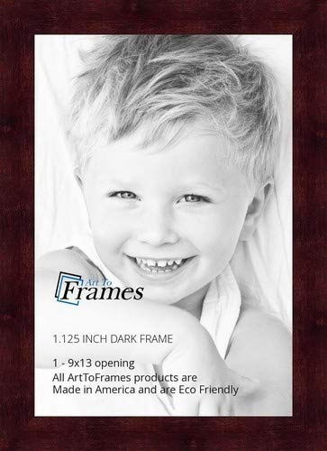 (ArtToFrames 9x13 inch Dark Cherry Stain on Hard Maple Wood Picture Frame, 2WOM0066-71206-YCHY-9x13)