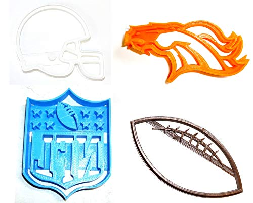 DENVER BRONCOS NFL FOOTBALL LOGO HELMET SET OF 4 SPECIAL OCCASION COOKIE CUTTERS BAKING TOOL 3D PRINTED MADE IN USA PR1142