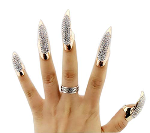 5PCS(S+M+L) Punk Style Fake False Nail Crystal Claw