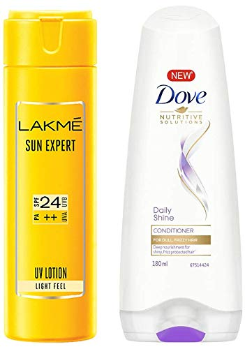 Lakme Sun Expert SPF 24 PA Fairness UV Sunscreen Lotion, 60ml And Dove Daily Shine Conditioner, 180ml