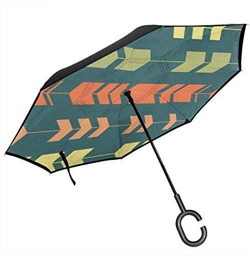 カラフル矢印 ユニセックス二重層防水ストレート傘車逆折りたたみ傘C形ハンドル付き