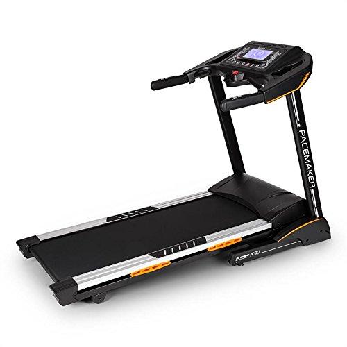 Capital Sports Pacemaker X30 Profi Motor Laufband zusammen klappbares Laufband mit Motor (6PS; 22km/h, gedämpfte Lauffläche, 20% einstellbarer Steigung, 36 Trainingsprogramme, Trainingscomputer mit Brustgurt) schwarz