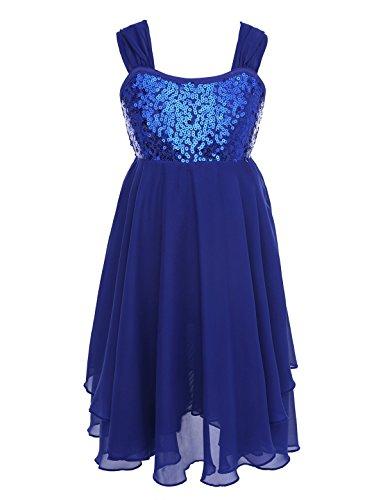 CHICTRY Girls Children Sweetheart Sequins Chiffon Dance Lyrical Dress Sash Bow Tie Ballroom Costumes Blue 8]()