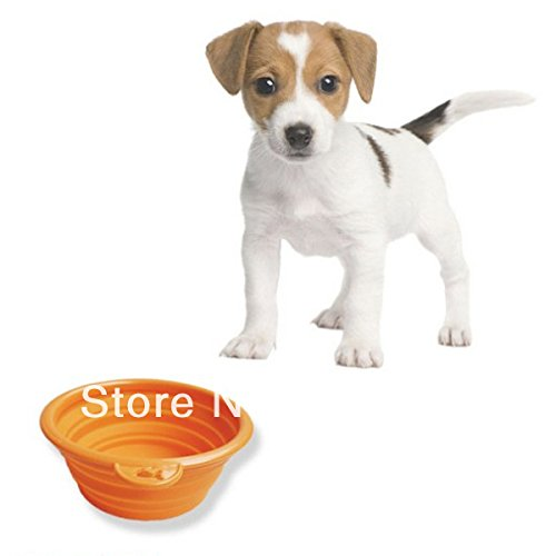 Pet Dog Cat Fashion Silicone Collapsible Feeding Water Feeder Travel Bowl Dish by Toppy cloths