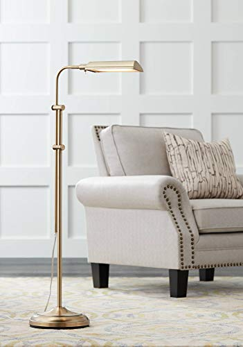 Culver Modern Pharmacy Floor Lamp LED Adjustable Aged Brass Metal Shade for Living Room Reading Bedroom Office - 360 Lighting (Lamp Brass Reading)