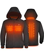 Heated Jacket for Men with Battery QC3.0 14400mAH with Detachable Hood,Warm Coat with 14400 mAh Battery Pack