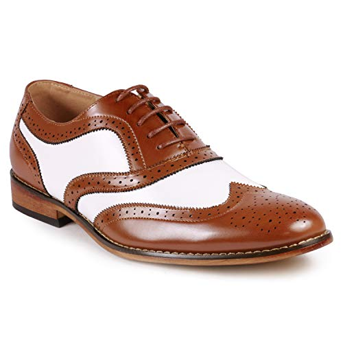 (Metrocharm MC145 Men's Two Tone Perforated Wing Tip Lace Up Oxford Dress Shoes (10, Tan White))