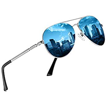 DUCO Designer Polarized Sunglasses Vintage Round Sunglasses With Case 100% UV400 Protection 3025K (Silver Frame Blue Mirrored, Blue)