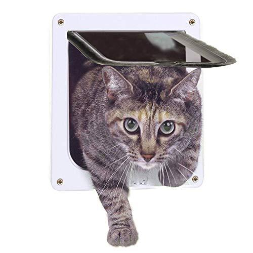 Gatera abatible para la puerta, para mascota (perro / gato), 4 posiciones, con cierre seguro de plástico ABS, tamaño pequeño, mediano y grande, ...