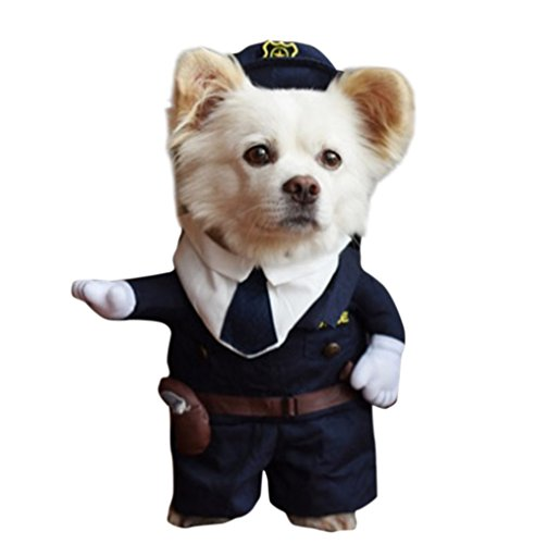 Cop Dog Costume (JudyBridal Pet Puppy Cloth Cute Police Cop Uniform with Hat Costumes Cosplay Dress Up for Halloween Christmas Easter Festival Party Adorable Pets Winter Cloth for Dogs and Cats L)