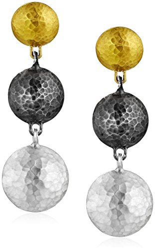 GURHAN ''Lentil'' White and Dark Silver with Gold Lentil Short Drop Earrings by Gurhan