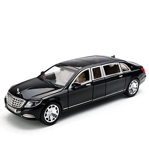 Model car,Greshare 1/28 Maybach S600L Diecast Sound & Light & Pull Back Model Toy Car New in Box,6 Door Open. (Black)