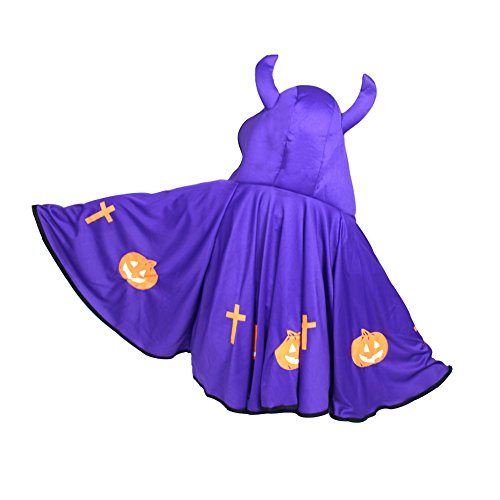 Devil Angular Clothing Cosplay Halloween Costume children Horns Short Cloak Purple (Devil Robe Child Costume)