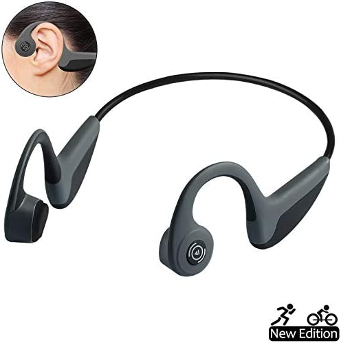Bone Conduction Headphones Bluetooth 5.0 Wireless Earbuds Open-Ear Waterproof Sports Headsets w Mic for Jogging Running Driving Cycling, Lightweight-1.2 oz Grey