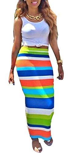 YUMiiiooo Nice Women 2 Pieces Crop Tops Rainbow Color Clubwear Party Maxi Skirt Set (Asian L) as - Adelaide Girls Asian
