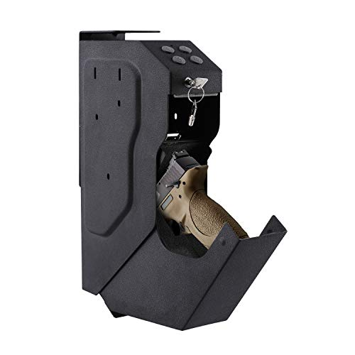 Superday Pistol Case Gun Security Box Gun Vault Handgun Safe Shelf-Mountable Gun Safe with Digital Key & 2 Emergency Key