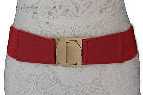 TFJ Women Elastic Fashion Belt Stretch Fabric Hip High Waist Gold Metal Buckle S M L Xl (Plus size L-XL (34