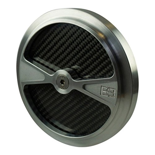 """Brass Balls Cycles F1 Air Cleaner Cover for 5.5"""" Harley and S&S Air Cleaners - Billet Aluminum with Carbon Fiber Inlays - Motorcycle Chopper Bobber"""