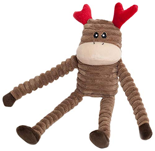 ZippyPaws - Holiday Crinkle Squeaky Plush Dog Toy Filled with Crinkle Paper and Stuffing - Reindeer, Small