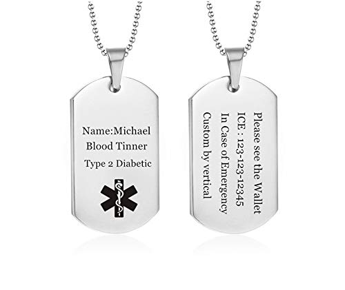 NJ Customize Medical Alert Necklace for Men Women - Free Engraving Stainless Steel Emergency ID Tag Caduceus Pendant Medic Dog Tag Necklace Health Alert Jewelry Silver