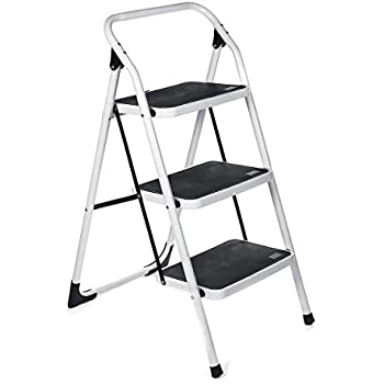 KingSo 3 Step Ladder Folding Step Stool with Wide Anti-Slip Pedal Sturdy Steel Ladder, Lightweight 330lbs Capacity