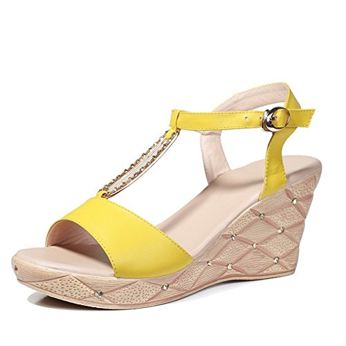 Yellow Leather Open Toe Buckle Womens Sandals Adee UBa8nWp1a