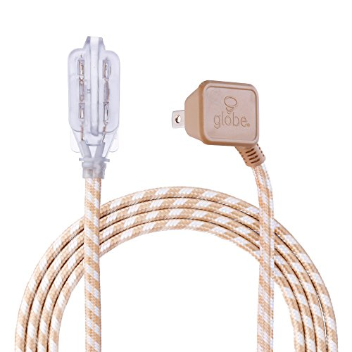 Designer Series 9-ft Fabric Extension Cord, 3 Polarized Outlets, Right Angle Plug, 125 Volts, Gold and White (Satin Gold Angle)