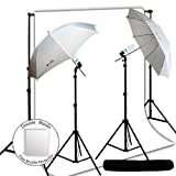 LimoStudio Photo Studio Umbrella Photography Light Backdrop Kit Set Combo - White Photo Backdrop Background Muslin, Carrying Case, AGG714