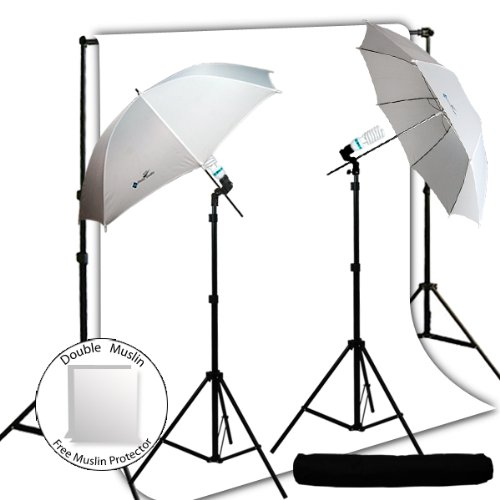 LimoStudio Photo Studio Umbrella Photography Light Backdrop Kit Set Combo - White Photo Backdrop Background Muslin, Carrying Case, AGG714 by LimoStudio