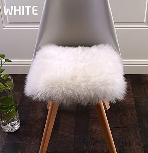 Square Sheepskin Seat Cushion,Luxurious Soft Fur Chair Pads Seat Cover White,16x16 Inch (White Cushion Chair)