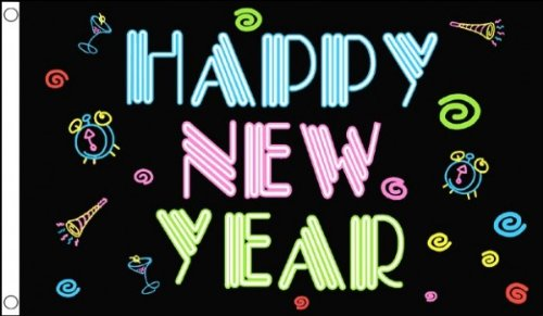 HAPPY NEW YEAR  FLAG 3' x 5' - NEW YEAR PARTY FLAGS 90 x 150