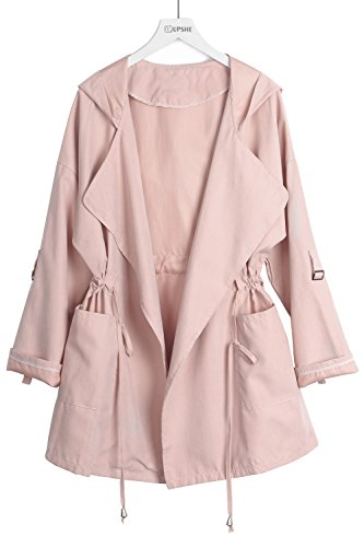 Cupshe Fashion Women's Solid Color Hooded Cardigan (L, Pink) (Pink Coat)