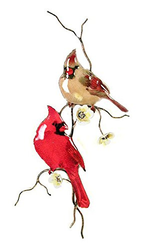 Bovano - Wall Sculpture - Two Cardinals On A Branch w/ Yellow (Bovano Wall Sculpture)