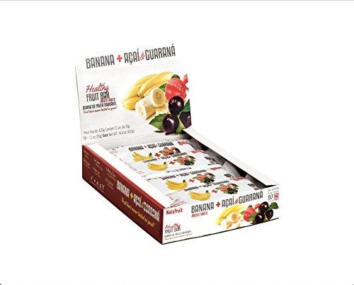 Banana + Açaí & Guarana Healthy Fruit Bar Box 12 - 100% Real Fruit   Gluten Free   No Artificial Flavor   Low Sodium   High Potassium   Vegan   Kosher by Natufruit