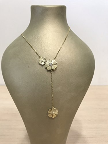 14 karat artisan floral lariat necklace with diamond