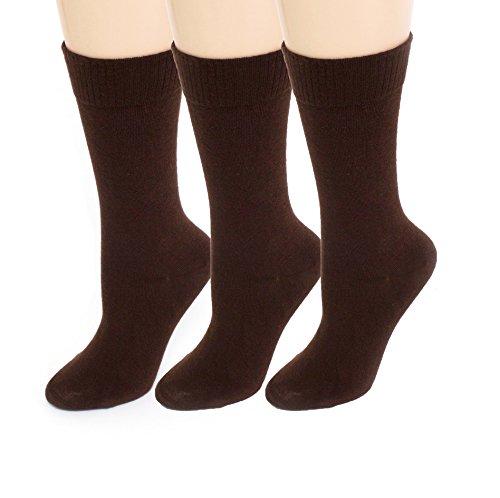 Womens Diabetic Socks | Seamless Toe + Non-Binding | Brown Crew 3 Pack Size ()