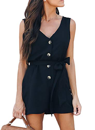 Dokotoo Womens Fashion 2019 Summer Ladies Casual Sleeveless Button Up V Neck Belted Solid Plain Short Rompers Jumpsuits Playsuit Black Large