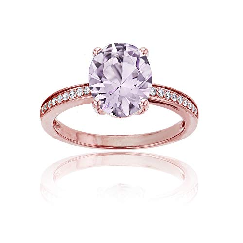 (10K Rose Gold 0.10 CTTW Round Diamond Channel Set & 10x8 Oval Rose De France Engagement Ring)