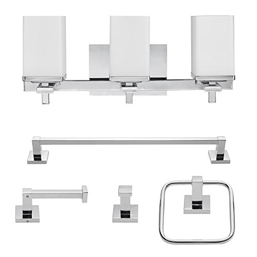 Globe Electric 59221 Finn 5-Piece All-in-One Bath Set, 3-Light Vanity, Bar, Towel Ring, Robe Hook, Toilet Paper Holder, Polished Chrome with White Glass Shades