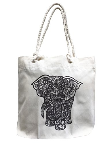 Bohemian Elephant Canvas Tote Reusable Grocery Bag Handbag B