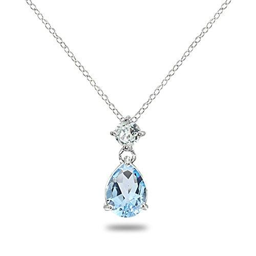Sterling Silver Blue & White Topaz 9x7mm Teardrop Slide Dangling Necklace