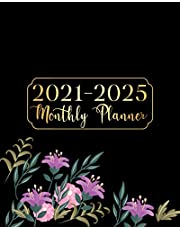 2021-2025 Monthly Planner: Black Cover Flowers Five Year Monthly Planner 60 Months Calendar Agenda Schedule Organizer And Appointment Notebook With Federal Holidays And Inspirational Quotes